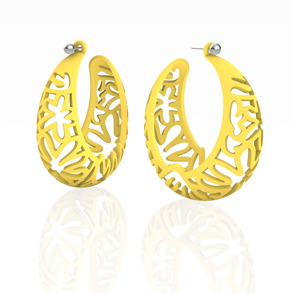 MATISSE inspired YELLOW CORAL CUTOUT HOOP earrings.  XL 2.125  inch diameter.  Material:  Nylon   Posts:  sterling or 14/20 goldfill