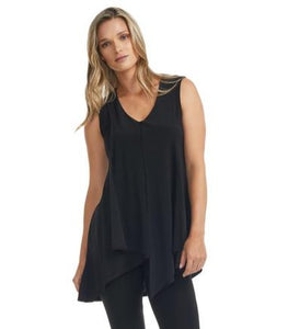 Black Sleeveless Top with Ruffle Hemline  (available in plus sizes)