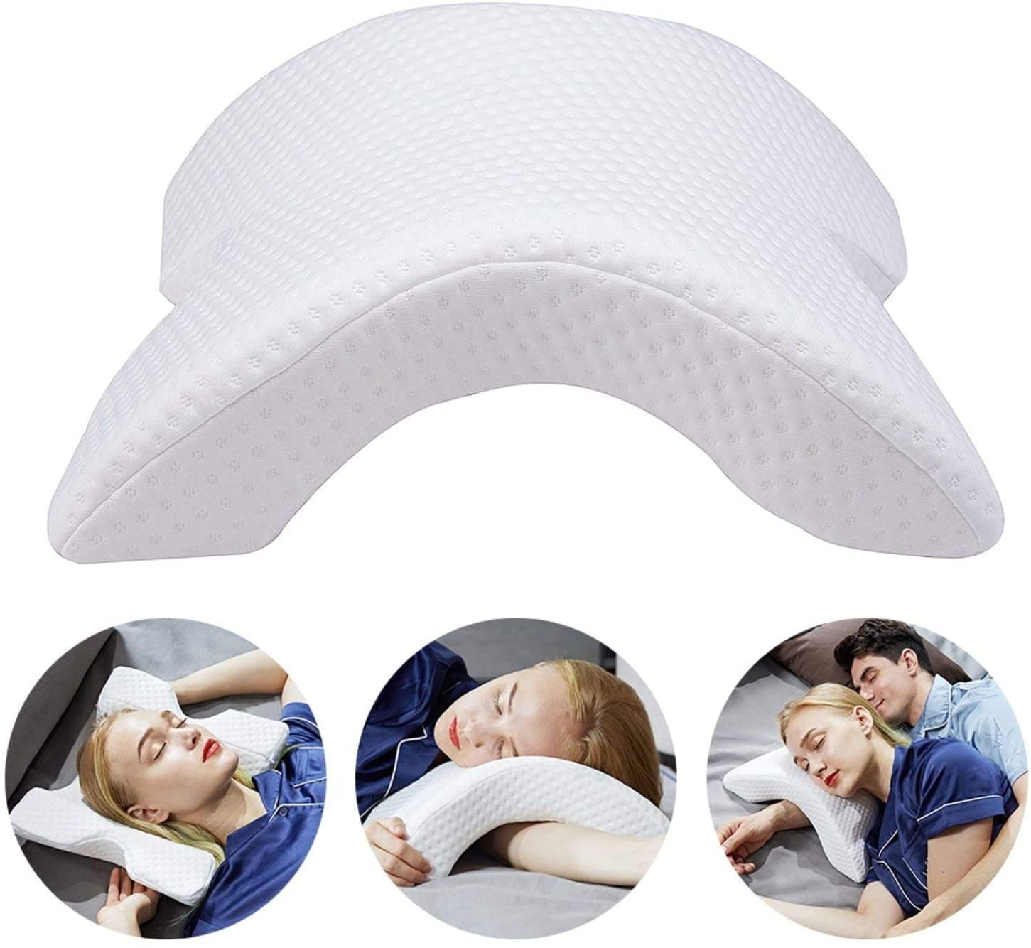 DEAYU 100% Memory Foam Arched Pillow - Couple Cuddle Sleep Pillow - Anti Hand Numb