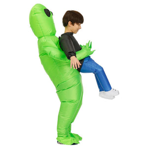 🔥Halloween Hot Sale🔥Green alien inflatable costume cosplay kid adult fun blow up suit party