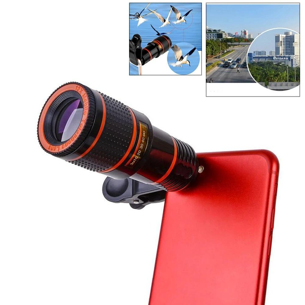 Mobile phone lens HD 12X telescope 18 tooth glass coating hd telescope without dark Angle