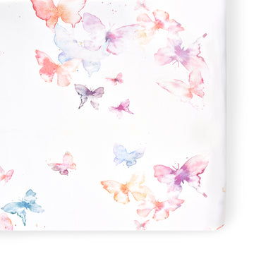 Butterfly Floral Crib Sheet