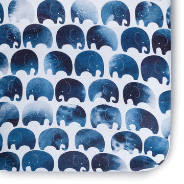Elefant Jersey Crib Sheet- Indigo