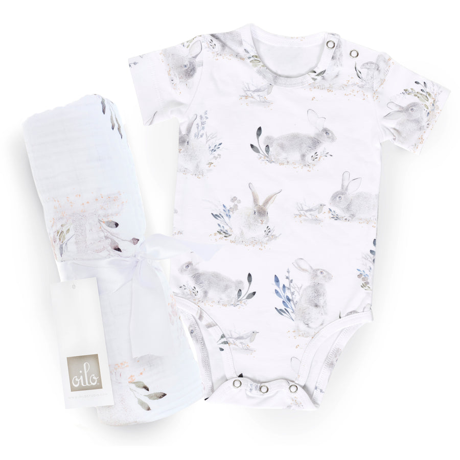 Cottontail Gift Set- Onesie and Swaddle