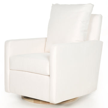 Quick Ship Photoshoot Sample Swivel Glider  – High Performance Ivory + Wood Base