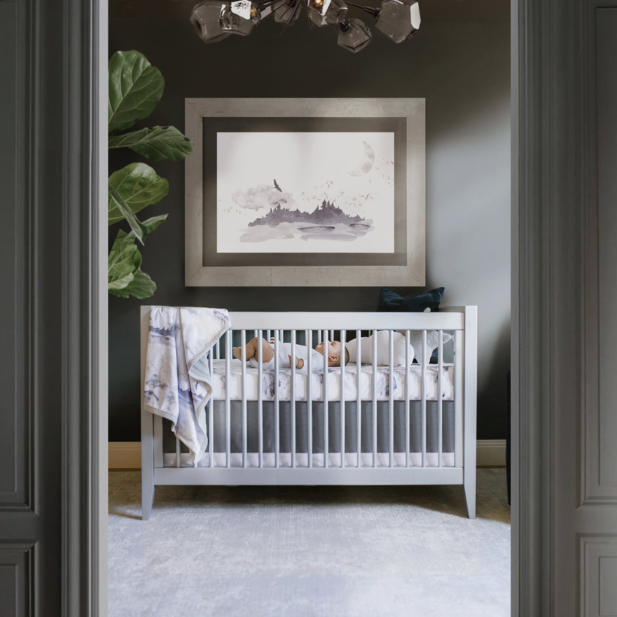 Solid Crib Skirt - Stone Gray