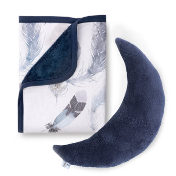 Featherly Cuddle Blanket + Indigo Moon Pillow