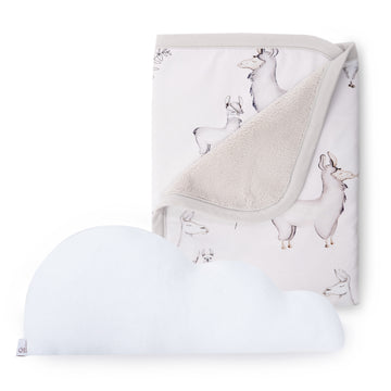 Llama Cuddle Blanket + White Cloud Pillow