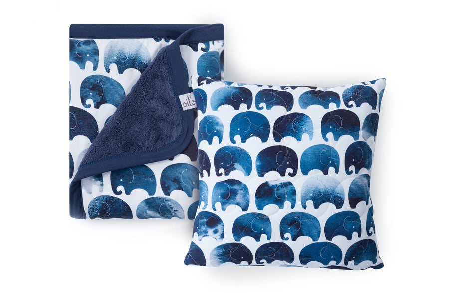 elephant blanket and throw pillow