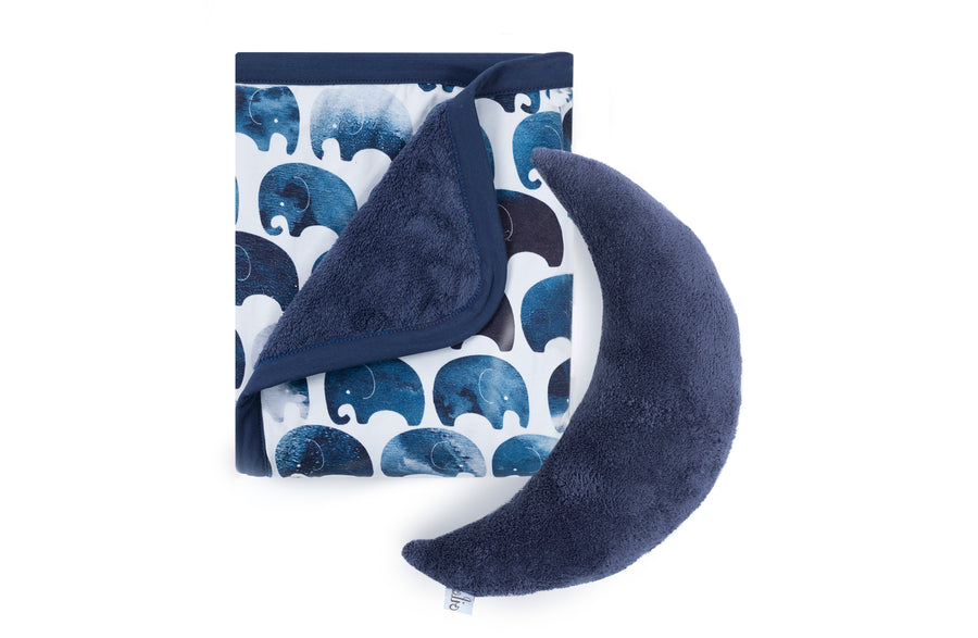 folded elephant baby blanket with moon pillow