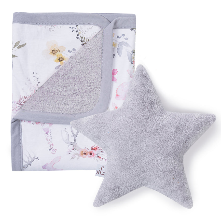 Fawn Cuddle Blanket + Silver Star Pillow