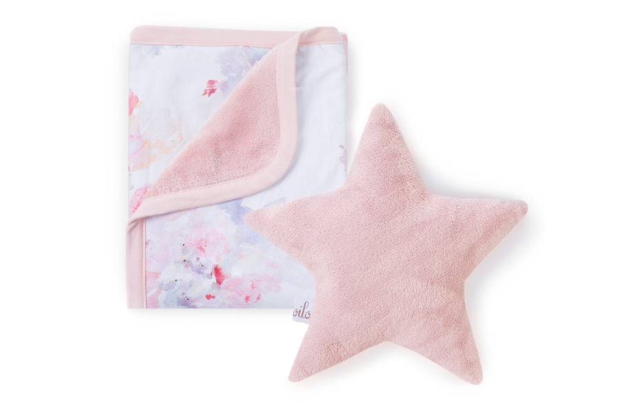 blush star and floral baby blanket
