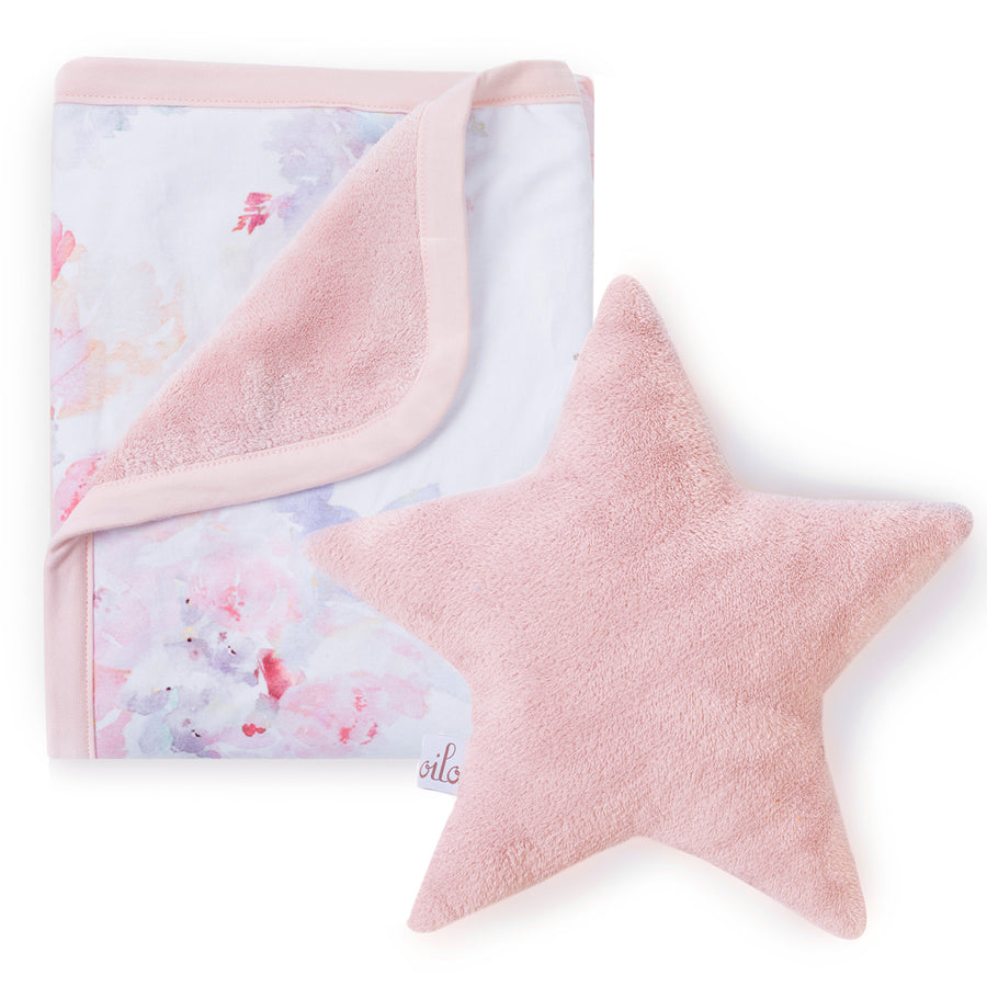 prim baby blanket and blush star pillow