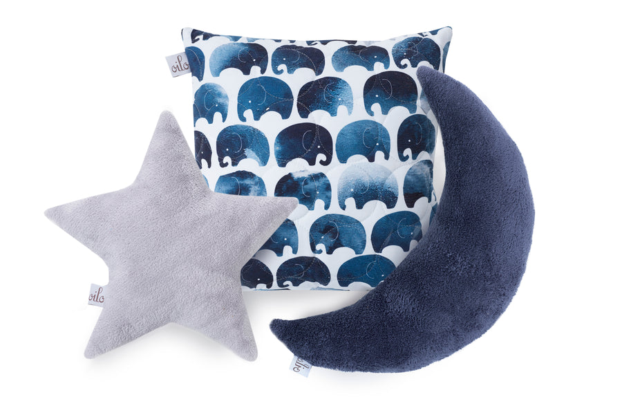 star, moon, and elephant pillows