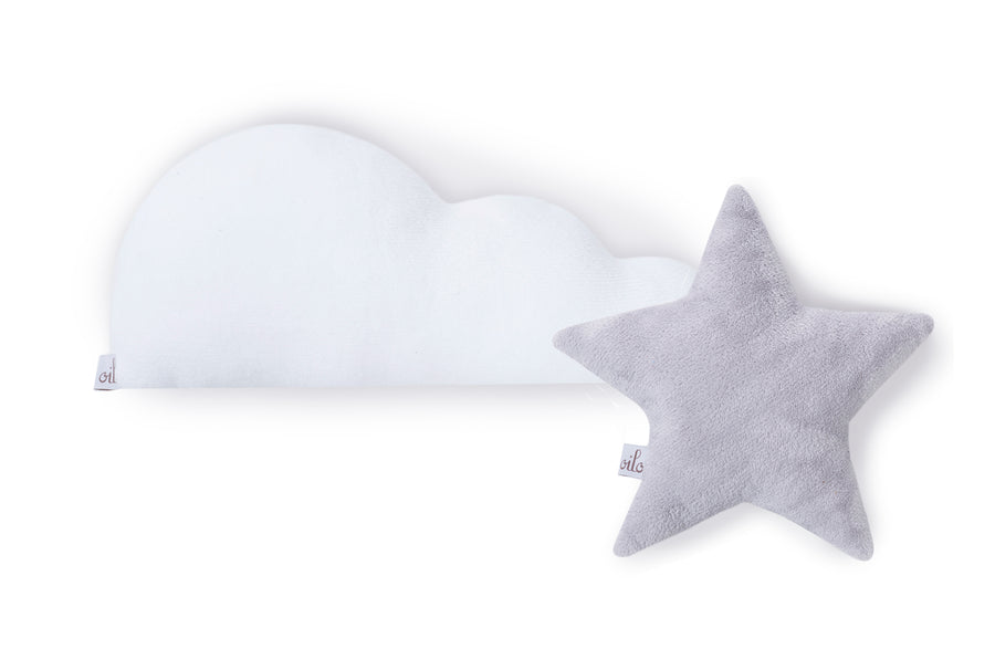 white cloud pillow and star pillow