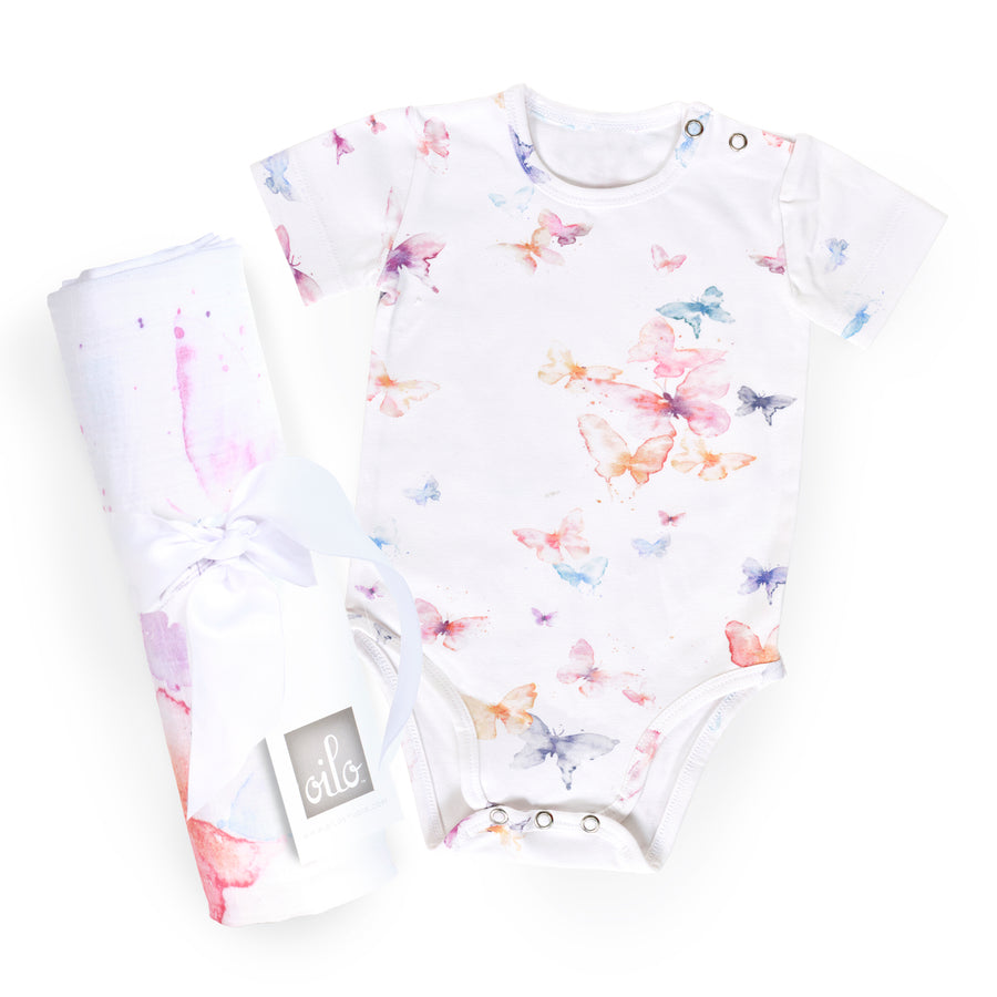 Butterfly Gift Set- Onesie and Swaddle