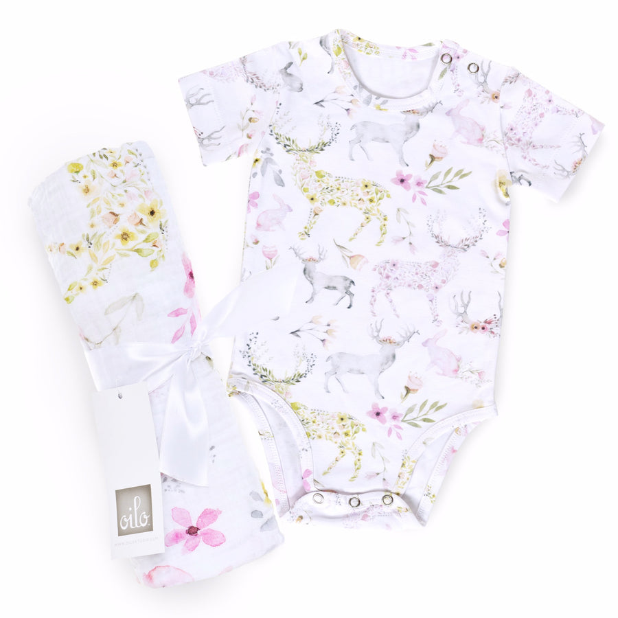 Fawn Gift Set- Onesie and Swaddle