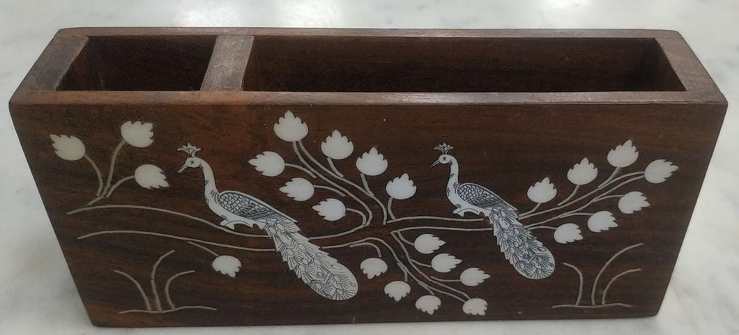 Saharanpur Wood Inlay Work Pen And Pad Stand