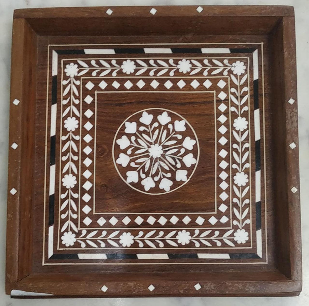 Saharanpur Wood Inlay Work Tray 8x8 Inch