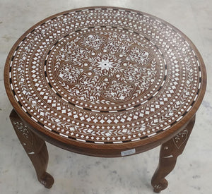 Saharanpur Wood Inlay Work Round Table Hight 17Inch  Top 18Inch