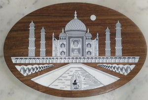 Saharanpur Wood Inlay Work Wll Hanging Panel 11x7