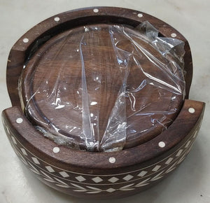 Saharanpur Wood Inlay Work Coaster 5inch Round