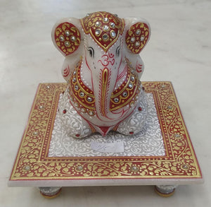 Marble Ganesh With Aasanam 5inch