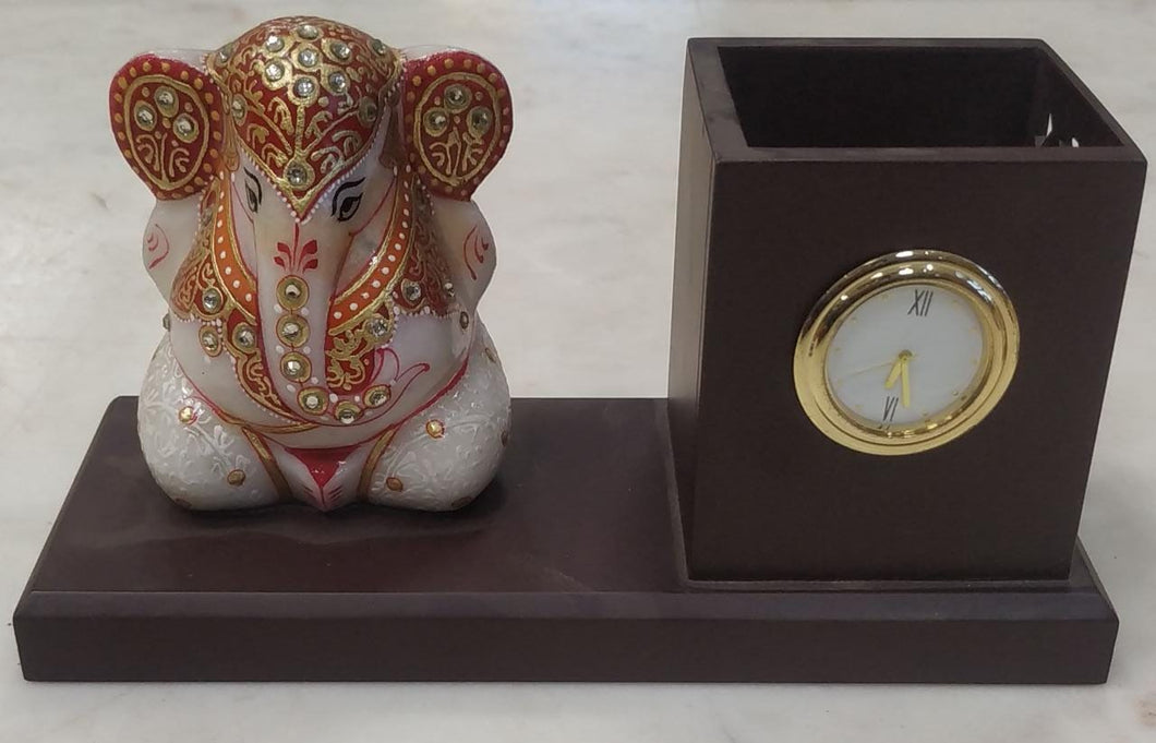 Marble Ganesh With Pen Stand