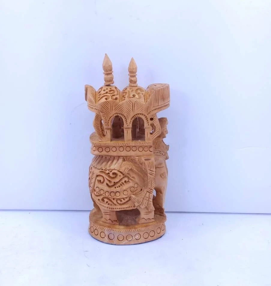 Wooden Ambari Elephant Carving 5inch