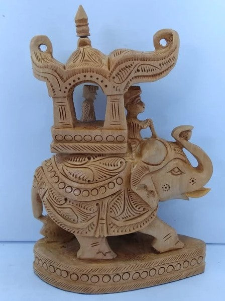 Wooden Ambari Elephant Carving 12inch