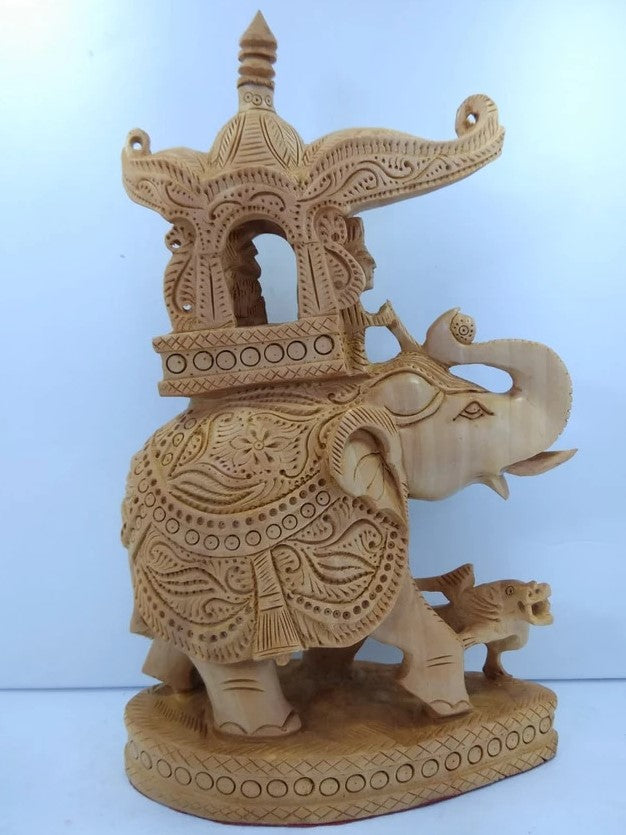Wooden Ambari Elephant Carving