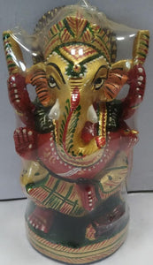 Wooden Ganesh Painted 4inch