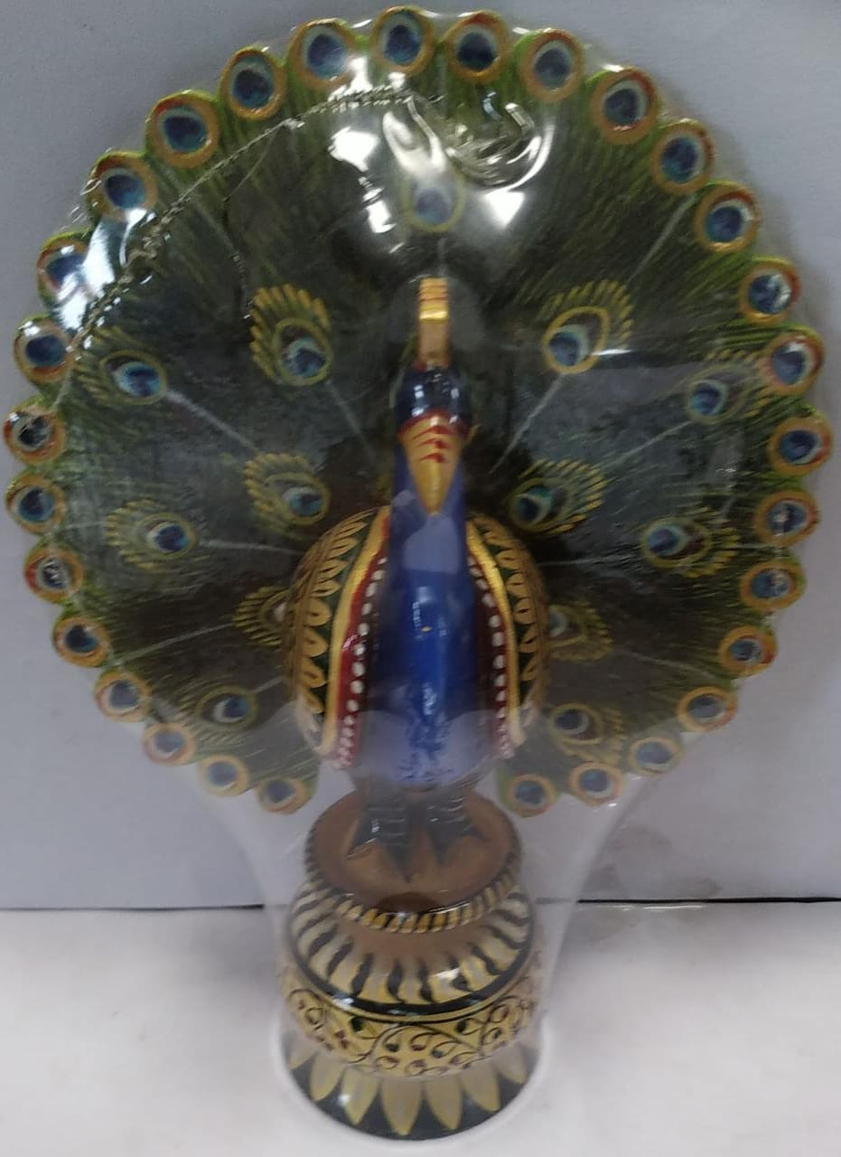 Wooden Painted Peacock 8inch