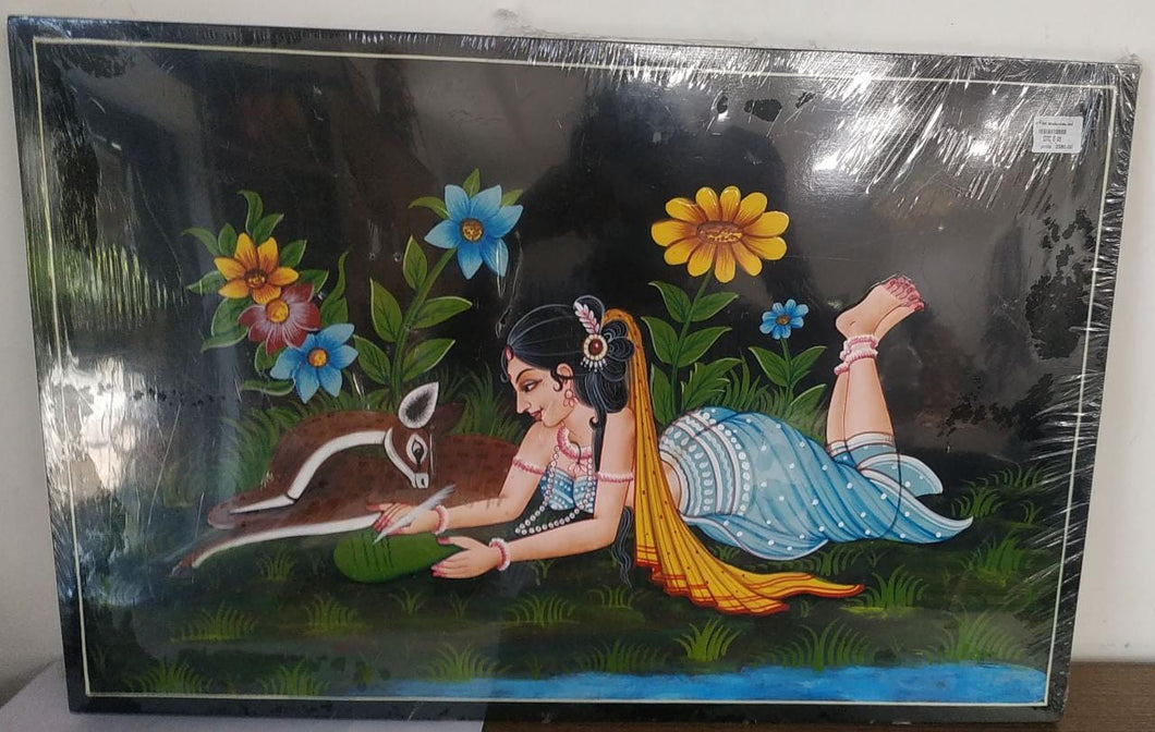 Nirmal Painting Lady With Deer 24x16