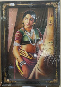 Nirmal Painting Tribel Lady With Frame 19x26
