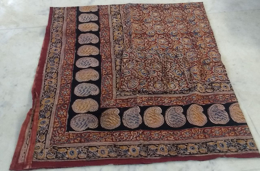 Kalamkari cotton dubel bedsheet with pillow covers