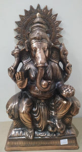 Black Metal Ganesh 12x24 Inch