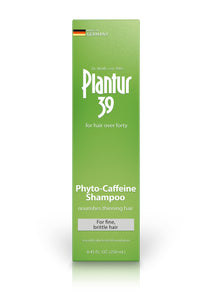 Shampoo box. Green with white writing. Plantur 39: for hair over forty. Phyto-Caffeine Shampoo for fine, brittle hair. Made in Germany