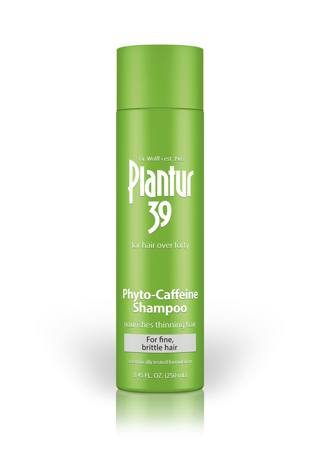 Front of shampoo bottle. Green bottle with white writing. Plantur 39 Phyto-Caffeine Shampoo for fine, brittle hair.