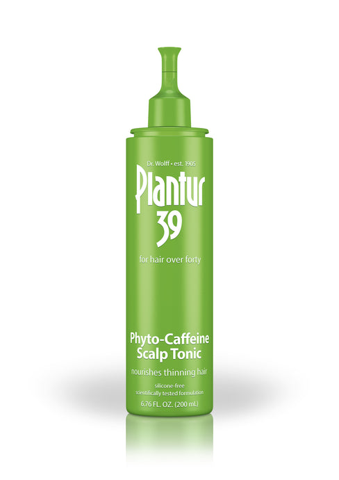 Green bottle with white text. Plantur 39: for hair over forty. Phyto-Caffeine Scalp Tonic nourishes thinning hair.