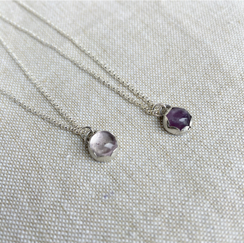Amethyst Necklace - Sterling Silver