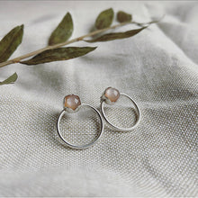 Load image into Gallery viewer, Peach Moonstone Post Earrings - Sterling Silver