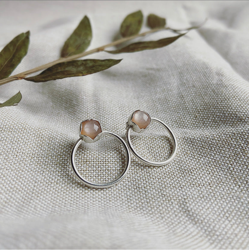 Peach Moonstone Post Earrings - Sterling Silver