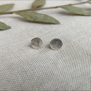 Tiny Plant Post Earrings - Sterling Silver