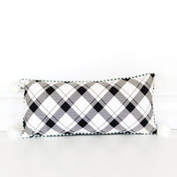 """Believe"" / Black & White Check Lumbar Pillow with Pom Poms"