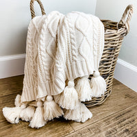 Knit Cable Throw with tassels - natural