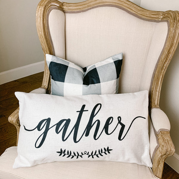 """Gather"" lumbar pillow cover - 14x24"