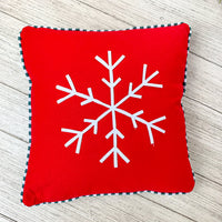 11.25 x 11.25 Red & White Snowflake with Check pillow