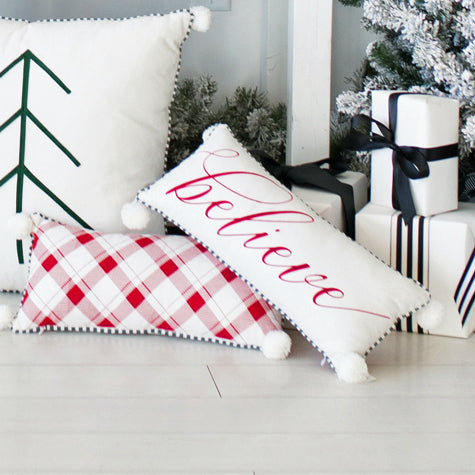 """Believe"" / Red Check Lumbar Pillow with Pom Poms"