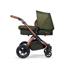 Load image into Gallery viewer, Stomp V4 I-Size Travel System with Mercury Car Seat & Isofix Base - Woodland / Bronze